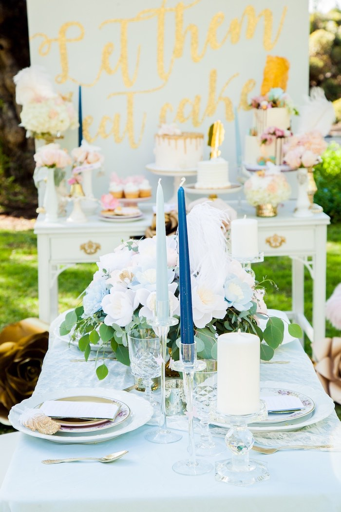 Dining table detail from a Marie Antoinette Inspired Bridal Shower on Kara's Party Ideas | KarasPartyIdeas.com (20)