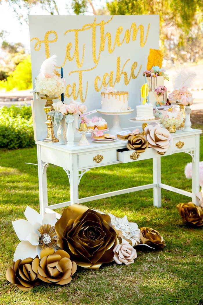 Gorgeous floral & gold dessert table from a Marie Antoinette Inspired Bridal Shower on Kara's Party Ideas | KarasPartyIdeas.com (11)