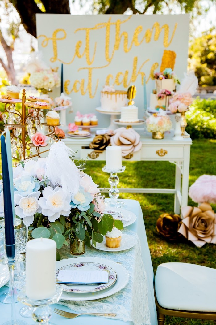 20469bd5cb5 ... Dining tablescape from a Marie Antoinette Inspired Bridal Shower on  Kara s Party Ideas