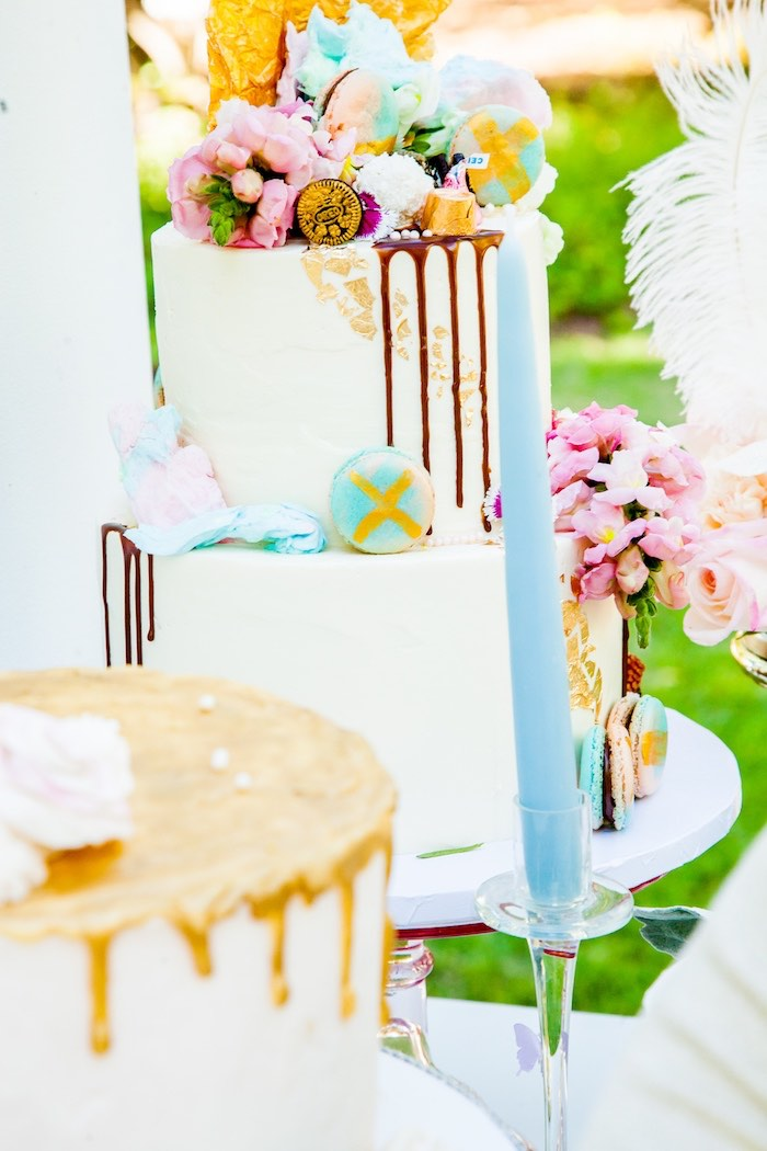 Gorgeous drip cake from a Antoinette Inspired Bridal Shower on Kara's Party Ideas | KarasPartyIdeas.com (5)