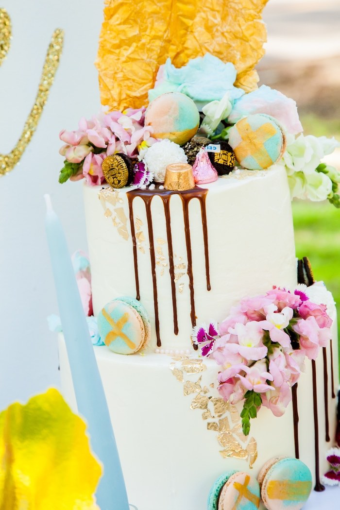 Flower & candy topped drip cake from a Marie Antoinette Inspired Bridal Shower on Kara's Party Ideas | KarasPartyIdeas.com (4)