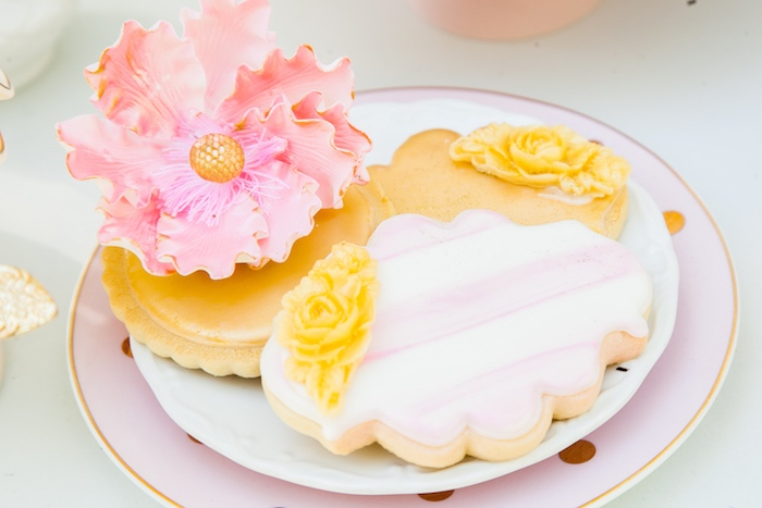 Beautiful pink & gold hand-painted cookies from a Marie Antoinette Inspired Bridal Shower on Kara's Party Ideas | KarasPartyIdeas.com (37)