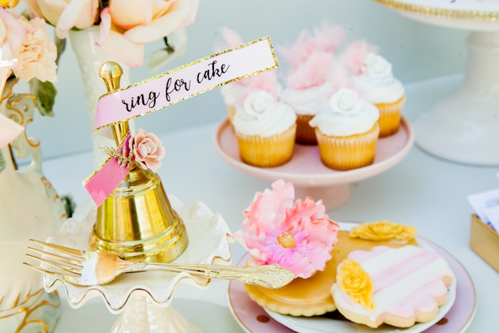 """""""Ring for cake"""" bell from a Marie Antoinette Inspired Bridal Shower on Kara's Party Ideas 