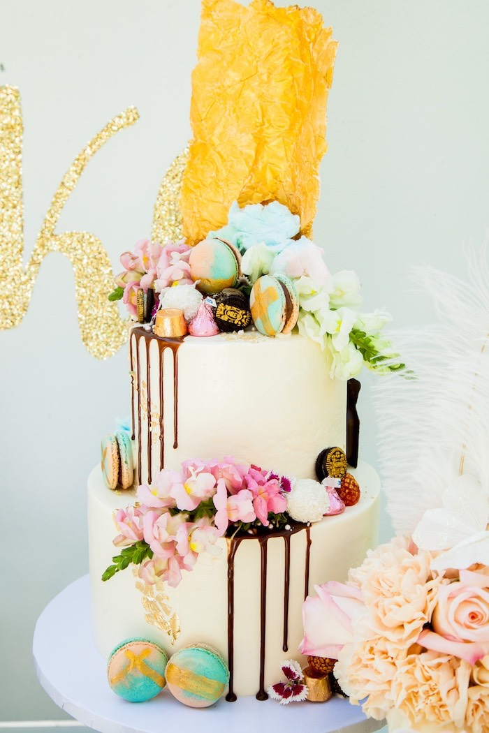 Floral drip cake from a Marie Antoinette Inspired Bridal Shower on Kara's Party Ideas | KarasPartyIdeas.com (34)