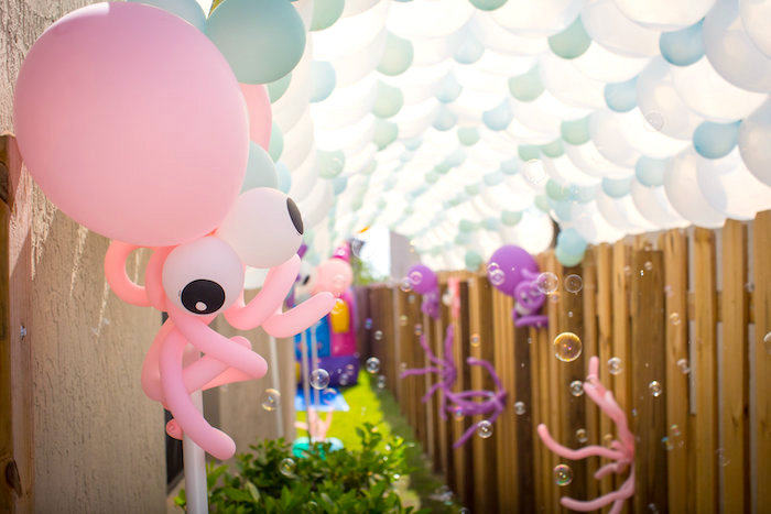 Octopus balloon from a Mermaid Birthday Party on Kara's Party Ideas | KarasPartyIdeas.com (29)