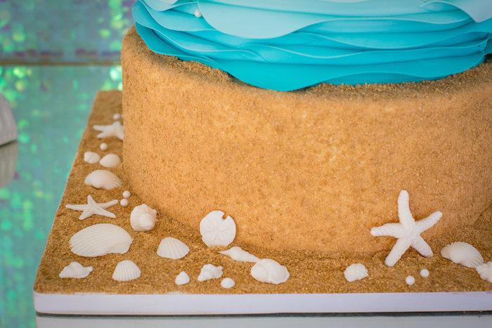 Sand cake tier from a Mermaid Birthday Party on Kara's Party Ideas | KarasPartyIdeas.com (27)