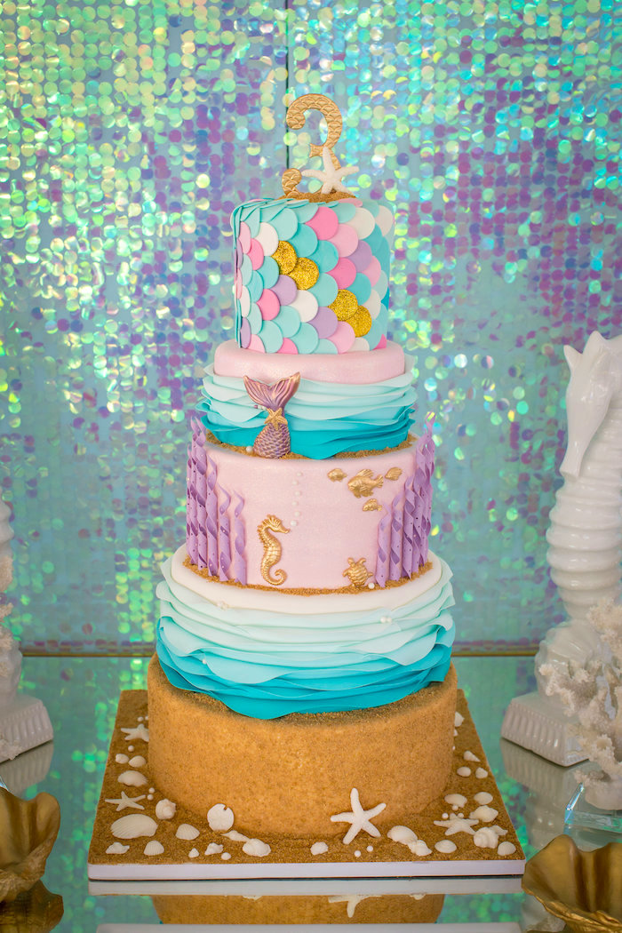 Under the sea mermaid cake from a Mermaid Birthday Party on Kara's Party Ideas | KarasPartyIdeas.com (26)