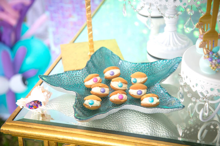 Clam cookies from a Mermaid Birthday Party on Kara's Party Ideas | KarasPartyIdeas.com (23)