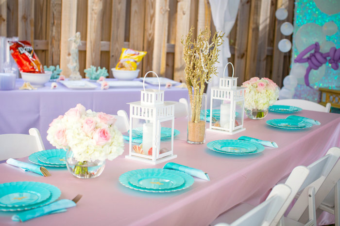 Guest tablescape from a Mermaid Birthday Party on Kara's Party Ideas | KarasPartyIdeas.com (40)