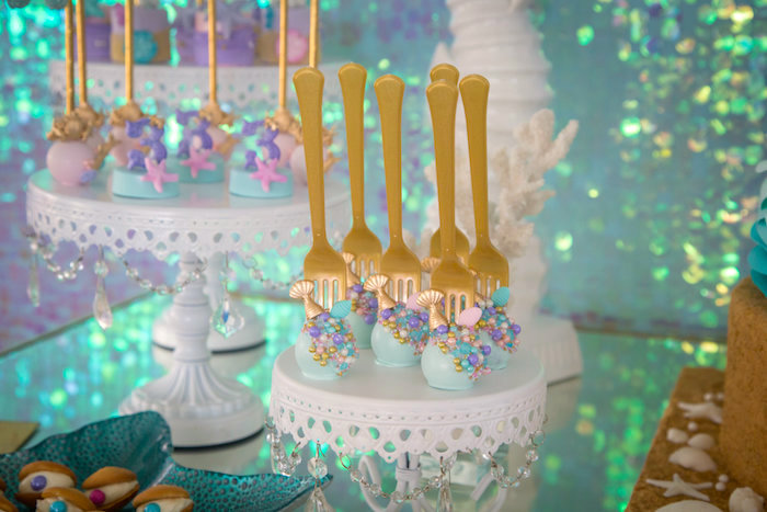 Mermaid cake pops from a Mermaid Birthday Party on Kara's Party Ideas | KarasPartyIdeas.com (18)