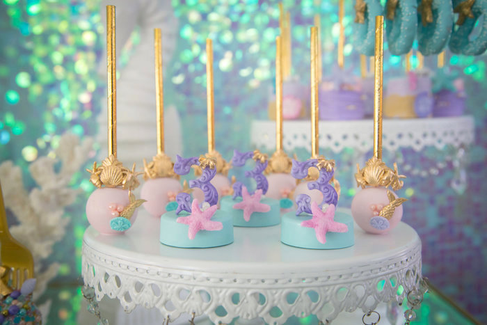 Under the sea cake pops and covered Oreos from a Mermaid Birthday Party on Kara's Party Ideas | KarasPartyIdeas.com (16)