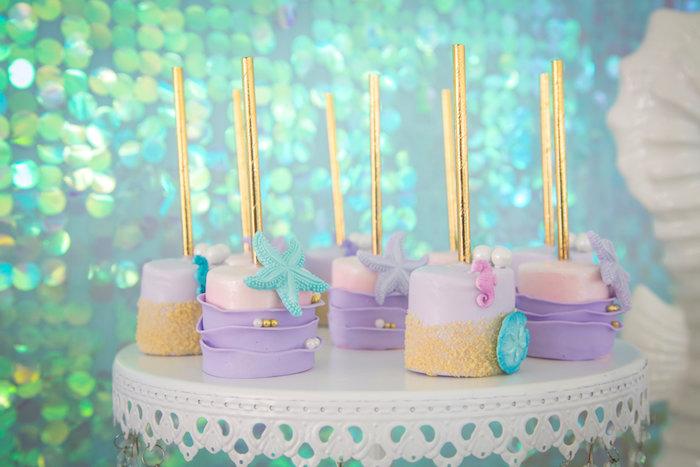 Under the sea marshmallow pops from a Mermaid Birthday Party on Kara's Party Ideas | KarasPartyIdeas.com (14)