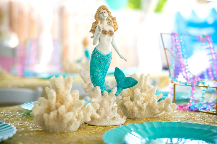 Mermaid centerpiece from a Mermaid Birthday Party on Kara's Party Ideas | KarasPartyIdeas.com (39)