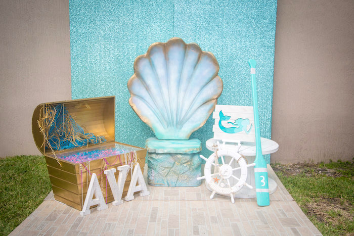 Mermaid photo booth from a Mermaid Birthday Party on Kara's Party Ideas | KarasPartyIdeas.com (7)