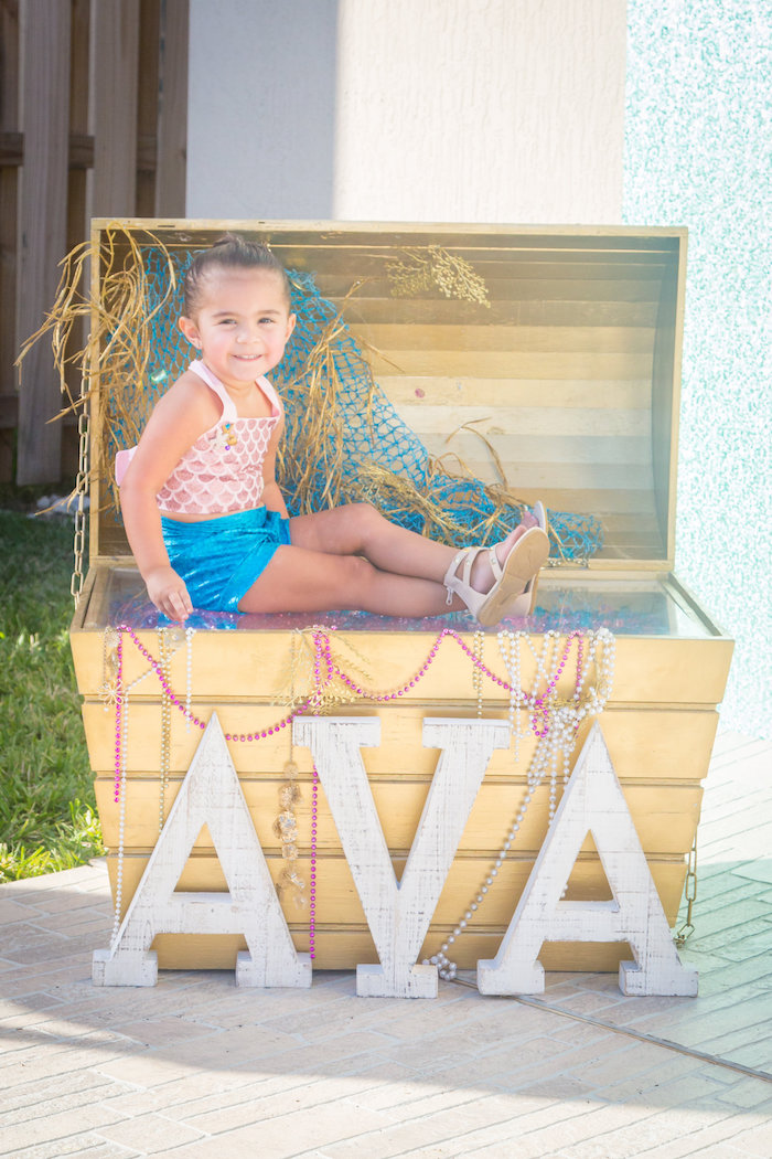 Treasure chest from a Mermaid Birthday Party on Kara's Party Ideas | KarasPartyIdeas.com (5)