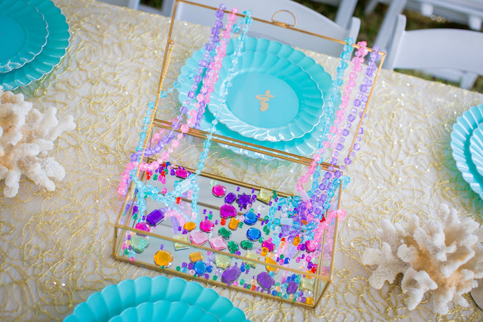 Glass treasure chest full of jewels from a Mermaid Birthday Party on Kara's Party Ideas | KarasPartyIdeas.com (38)