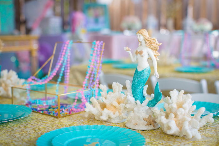 Mermaid & coral table centerpieces from a Mermaid Birthday Party on Kara's Party Ideas | KarasPartyIdeas.com (37)