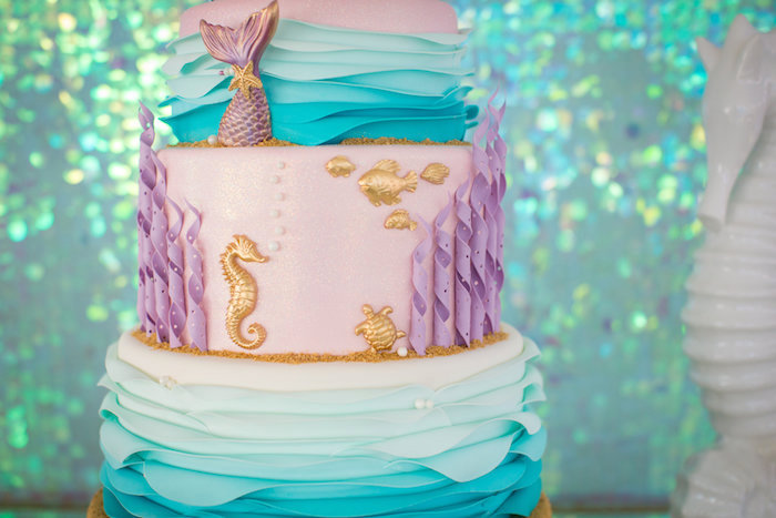 Under the sea cake detail from a Mermaid Birthday Party on Kara's Party Ideas | KarasPartyIdeas.com (34)