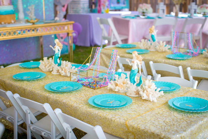 Guest table from a Mermaid Birthday Party on Kara's Party Ideas | KarasPartyIdeas.com (32)