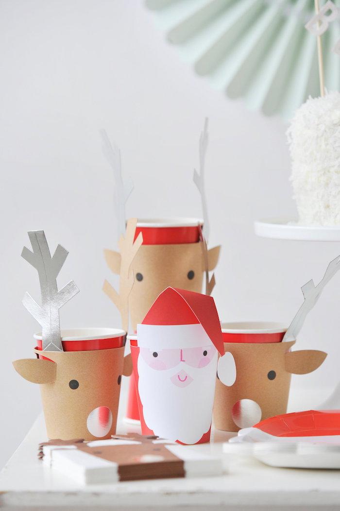 Reindeer and Santa Claus cup wraps from a Merry & Bright Christmas Party on Kara's Party Ideas | KarasPartyIdeas.com (24)