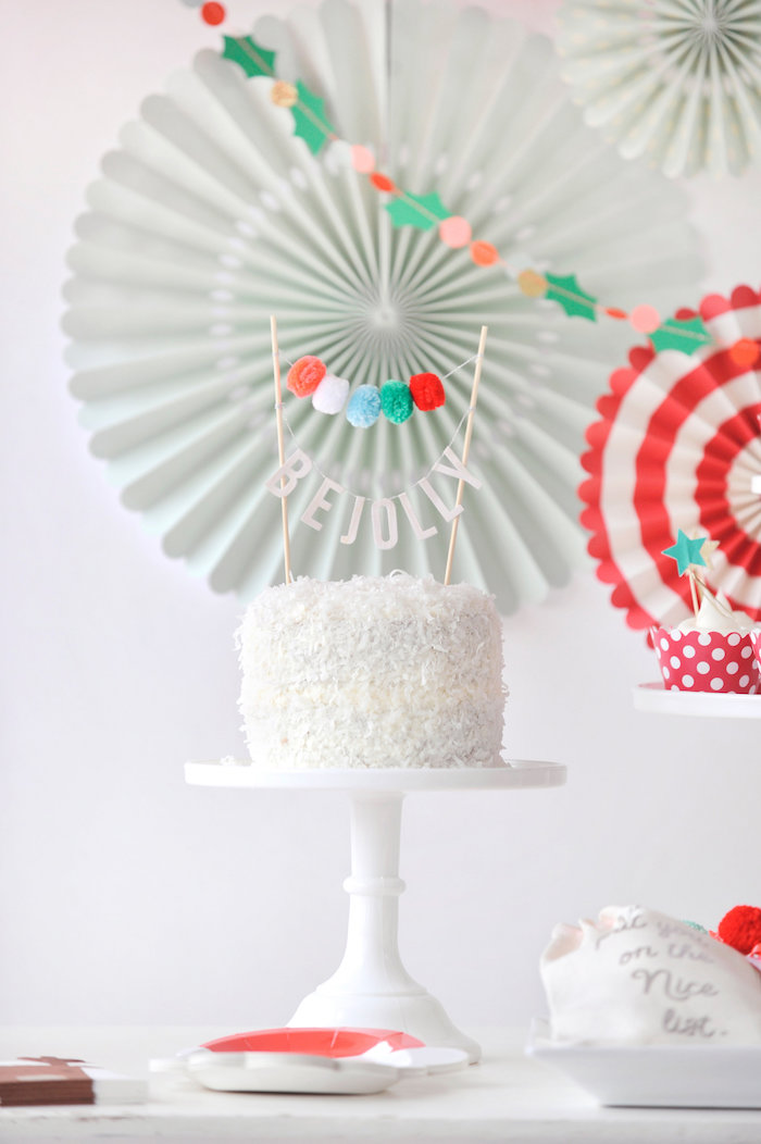 """""""Be Jolly"""" cake from a Merry & Bright Christmas Party on Kara's Party Ideas 