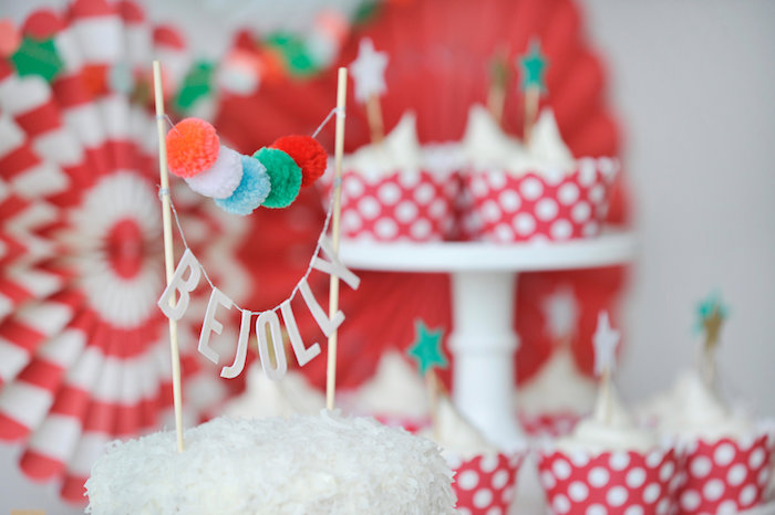 Cake bunting from a Merry & Bright Christmas Party on Kara's Party Ideas | KarasPartyIdeas.com (21)