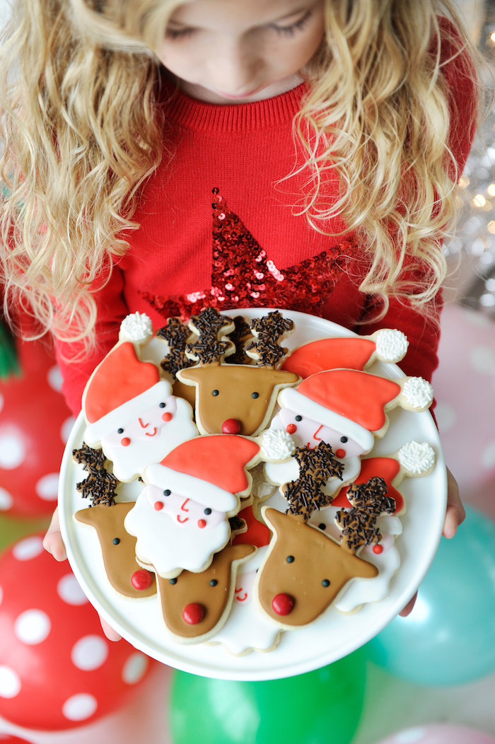 Holiday sugar cookies from a Merry & Bright Christmas Party on Kara's Party Ideas | KarasPartyIdeas.com (18)