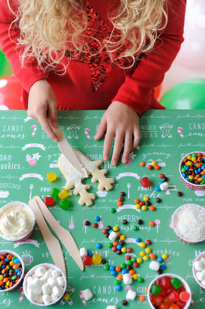 Cookie decorating station from a Merry & Bright Christmas Party on Kara's Party Ideas | KarasPartyIdeas.com (14)