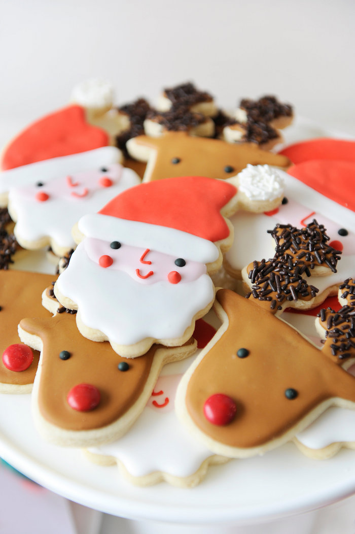 Santa Claus & Rudolph cookies from a Merry & Bright Christmas Party on Kara's Party Ideas | KarasPartyIdeas.com (13)