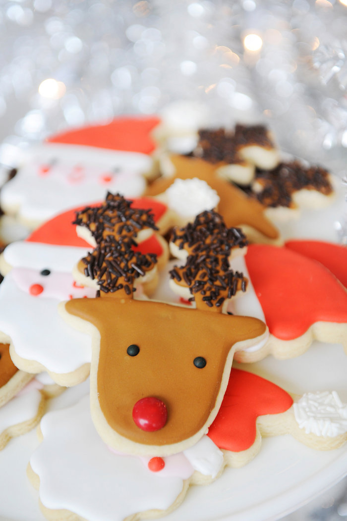 Rudolph cookie from a Merry & Bright Christmas Party on Kara's Party Ideas | KarasPartyIdeas.com (12)