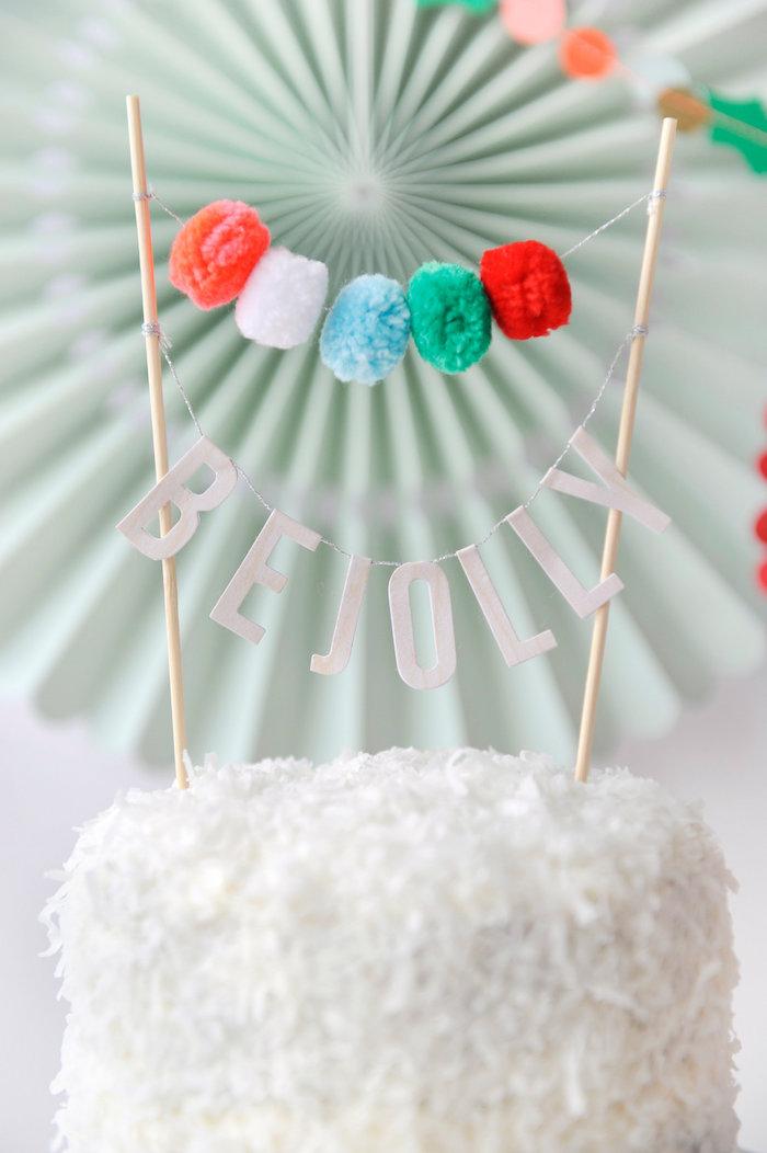 Be Jolly pom pom cake banner from Merry & Bright Christmas Party on Kara's Party Ideas | KarasPartyIdeas.com (11)