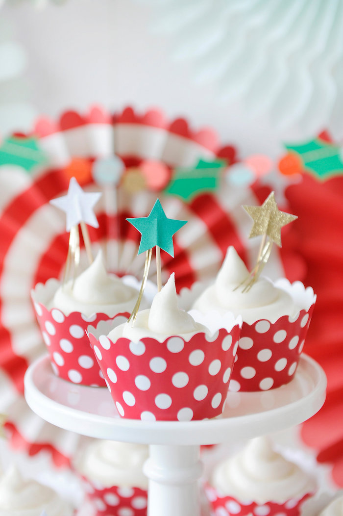 Star topped cupcakes from a Merry & Bright Christmas Party on Kara's Party Ideas | KarasPartyIdeas.com (10)