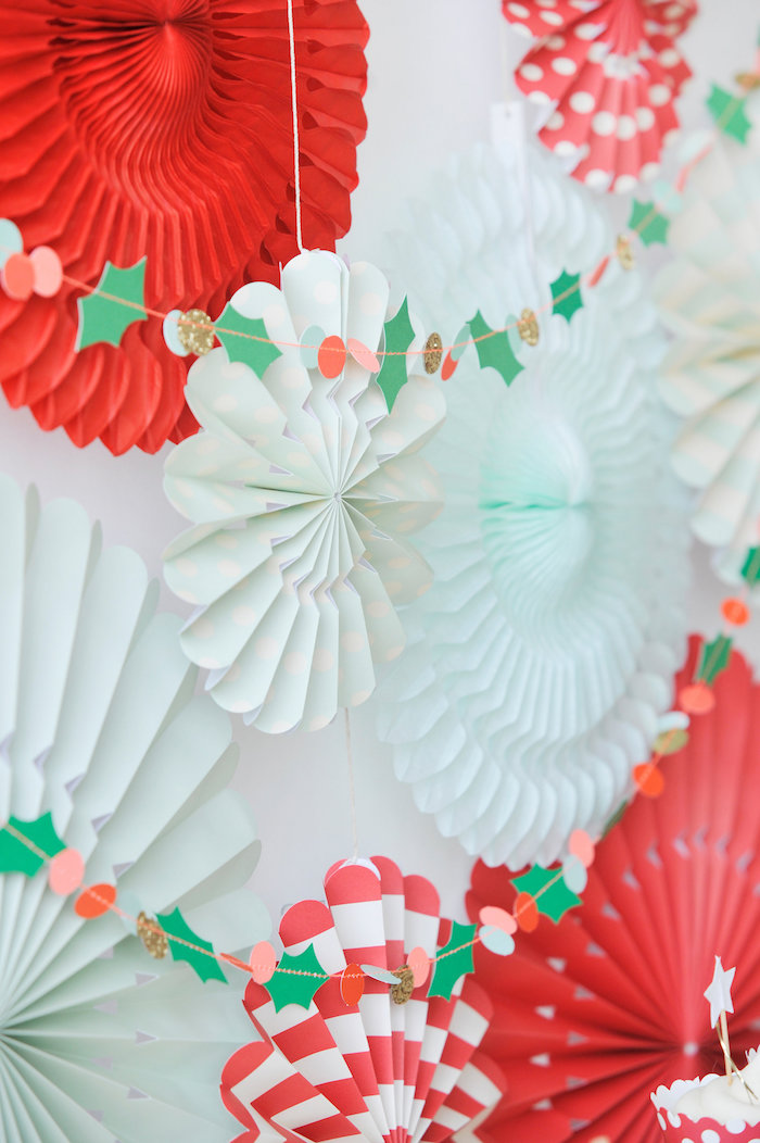 Paper holly garland from a Merry & Bright Christmas Party on Kara's Party Ideas | KarasPartyIdeas.com (8)