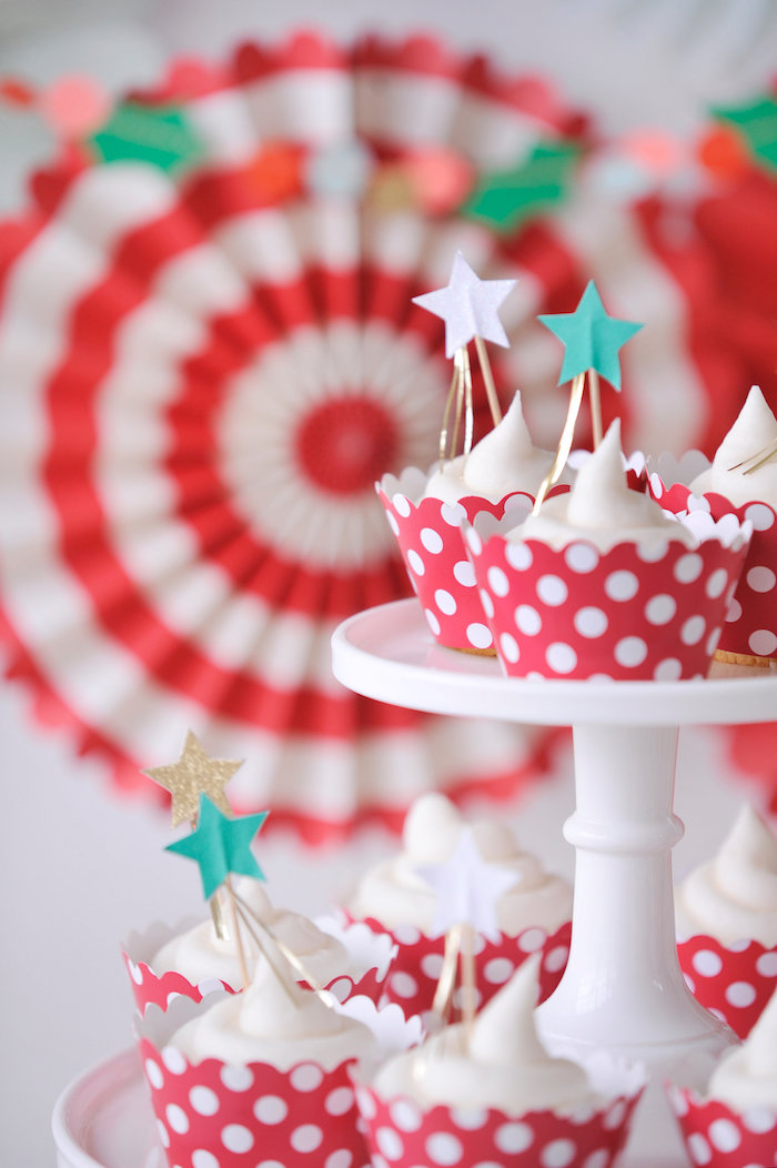 Star cupcakes from a Merry & Bright Christmas Party on Kara's Party Ideas | KarasPartyIdeas.com (7)