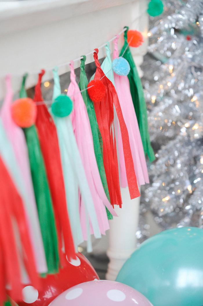 Pom pom bunting tassel garland from a Merry & Bright Christmas Party on Kara's Party Ideas | KarasPartyIdeas.com (6)