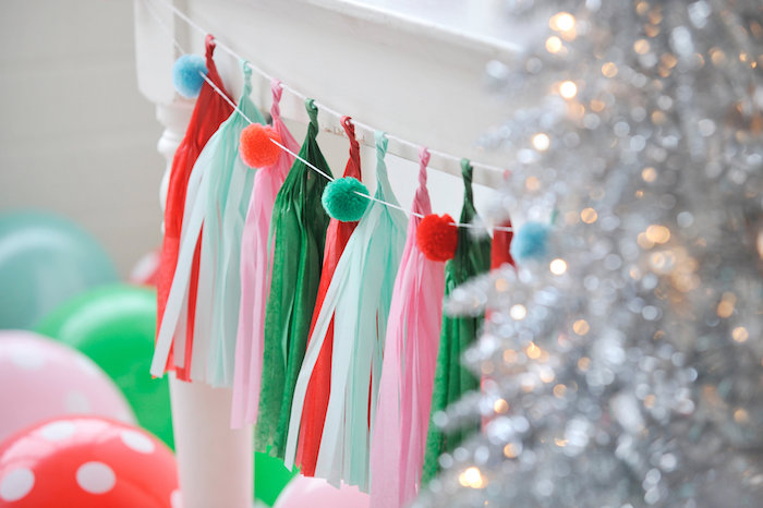 Pom pom bunting & tassel garland from a Merry & Bright Christmas Party on Kara's Party Ideas | KarasPartyIdeas.com (5)