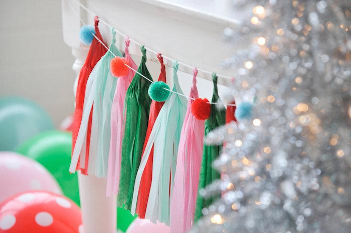 Pom pom bunting & tassel garland from a Merry & Bright Christmas Party on Kara's Party Ideas | KarasPartyIdeas.com (5)