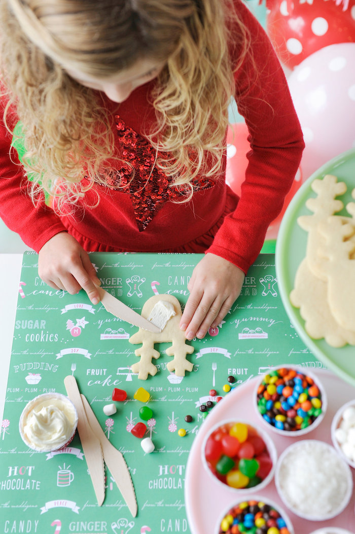 Cookie decorating from a Merry & Bright Christmas Party on Kara's Party Ideas | KarasPartyIdeas.com (4)