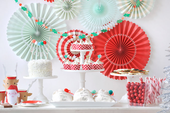 Holiday dessert spread from a Merry & Bright Christmas Party on Kara's Party Ideas | KarasPartyIdeas.com (28)
