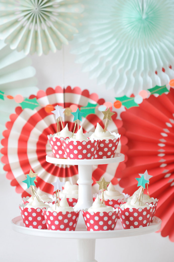 Star-topped cupcakes from a Merry & Bright Christmas Party on Kara's Party Ideas | KarasPartyIdeas.com (26)