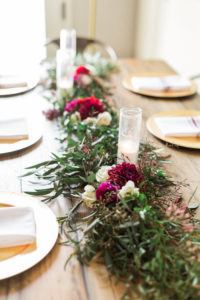 Floral garland table centerpiece from a Modern Rustic Baby Shower on Kara's Party Ideas | KarasPartyIdeas.com (34)