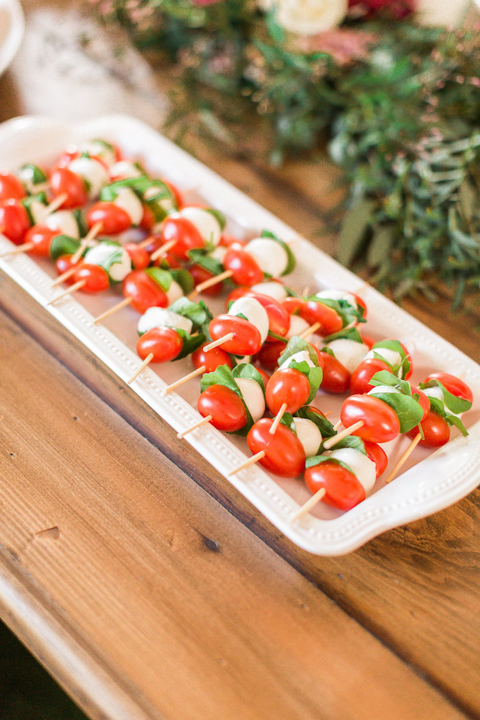 Caprese skewers from a Modern Rustic Baby Shower on Kara's Party Ideas | KarasPartyIdeas.com (33)