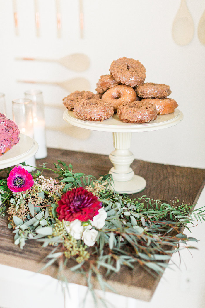 blooms donuts from a modern rustic baby shower on kara 39 s party idea