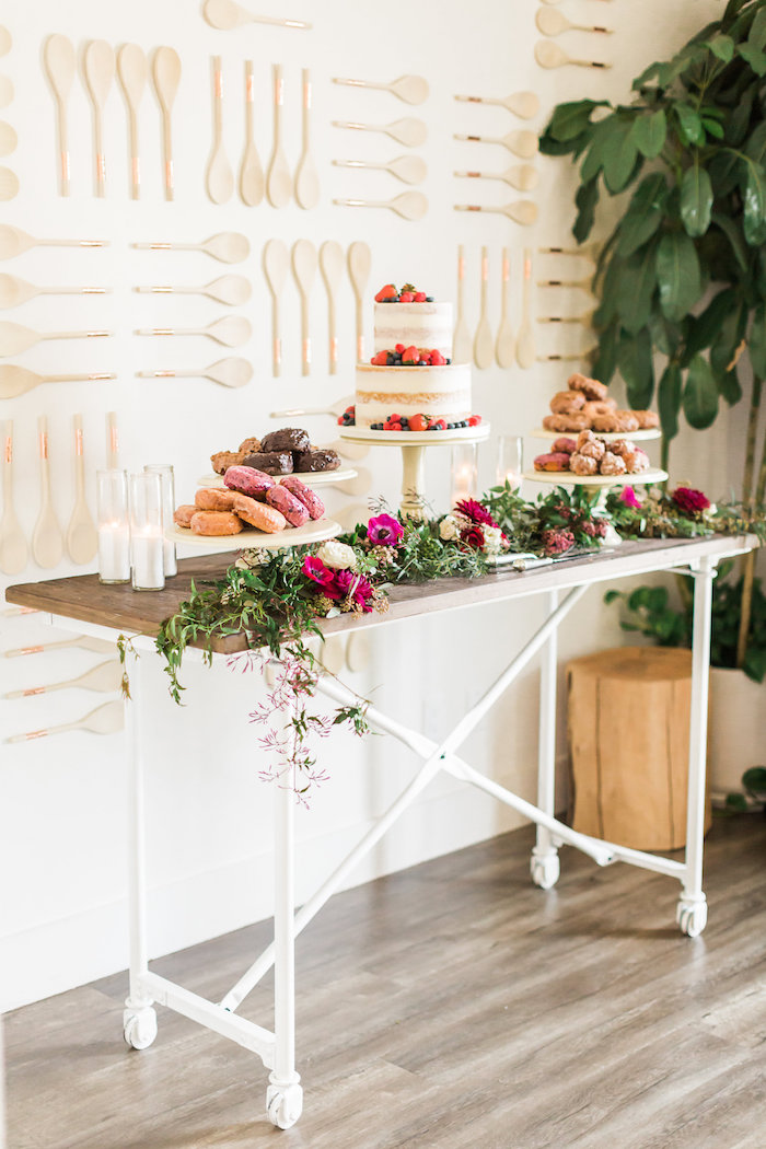 modern floral dessert table from a modern rustic baby shower on kara 39 s