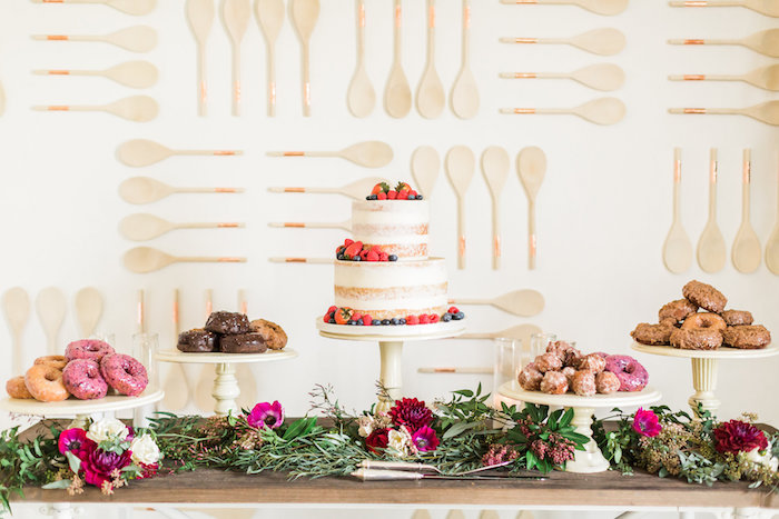 modern dessert spread from a modern rustic baby shower on kara 39 s party