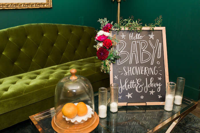 Floral chalkboard sign from a Modern Rustic Baby Shower on Kara's Party Ideas | KarasPartyIdeas.com (42)