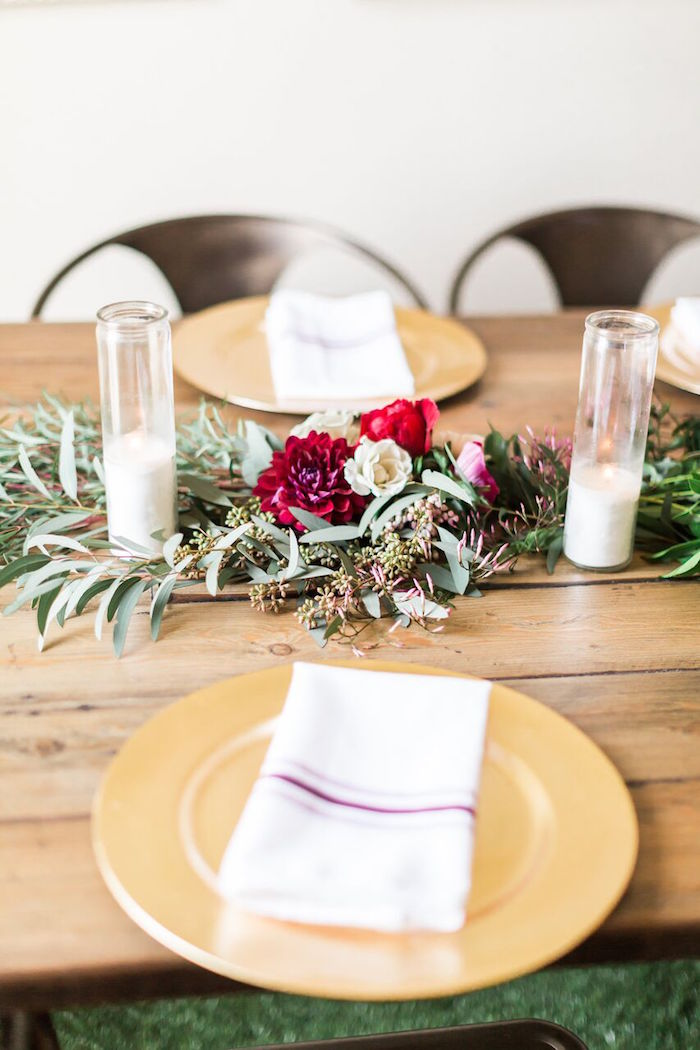 Gold -plated place setting from a Modern Rustic Baby Shower on Kara's Party Ideas | KarasPartyIdeas.com (10)