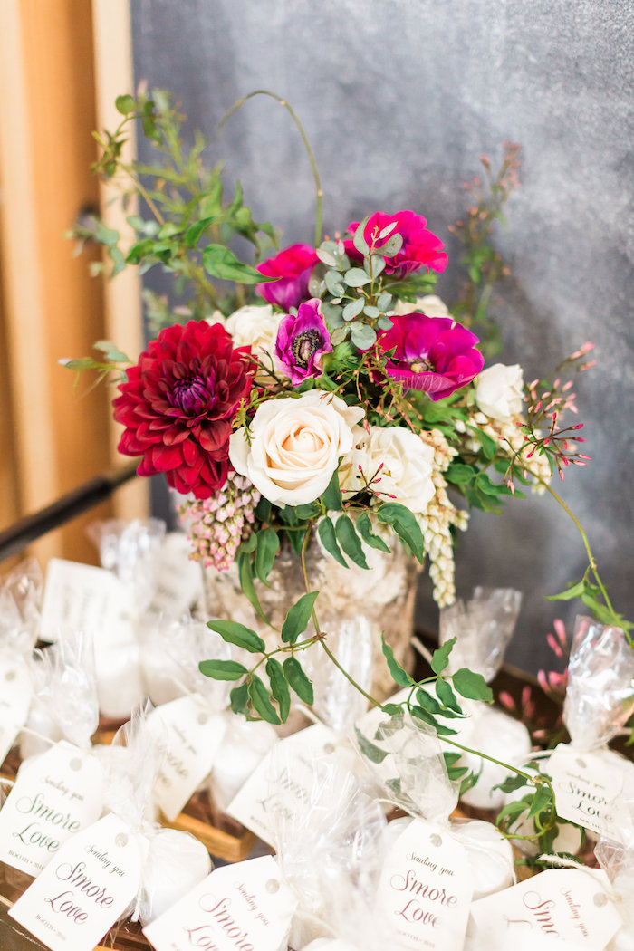 White, green, and pink floral arrangement from a Modern Rustic Baby Shower on Kara's Party Ideas | KarasPartyIdeas.com (7)