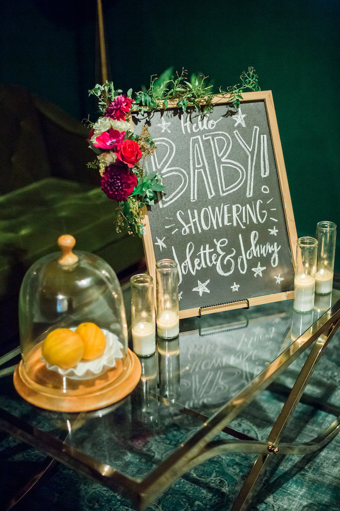 Chalkboard sign with floral garland from a Modern Rustic Baby Shower on Kara's Party Ideas | KarasPartyIdeas.com (4)