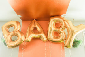 "Mylar balloon ""baby"" banner from a Modern Rustic Baby Shower on Kara's Party Ideas 